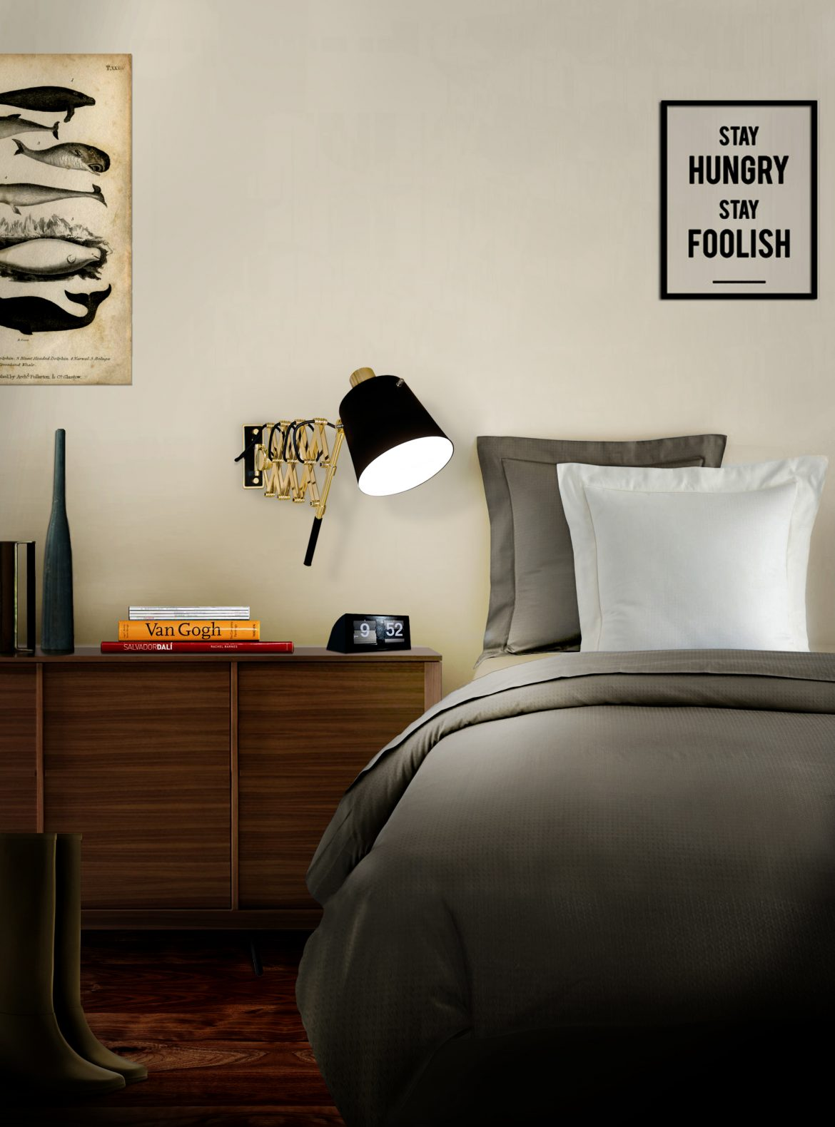 A sophisticated and highly functional piece with an extendable arm can be adjusted into different positions. Pure vintage. Its structure is made in brass and the lampshade in aluminum. Modern Bedroom Modern Bedroom Design Sets A sophisticated and highly functional piece with an extendable arm can be adjusted into different positions